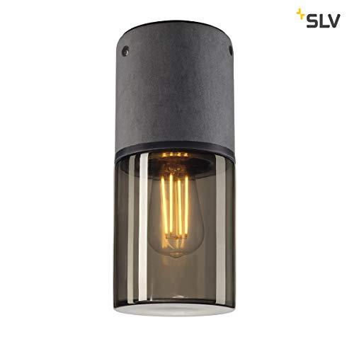SLV LISENNE-O Outdoor Deckenleuchte, Edelstahl304, E27, grau/Rauchglas