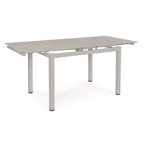 ARREDinITALY Table ALLUNG Plan Verre Taupe 110/170 x 74