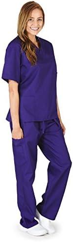 M M SCRUBS Women Scrub Set Medical Scrub Top and Pants L Purple product image