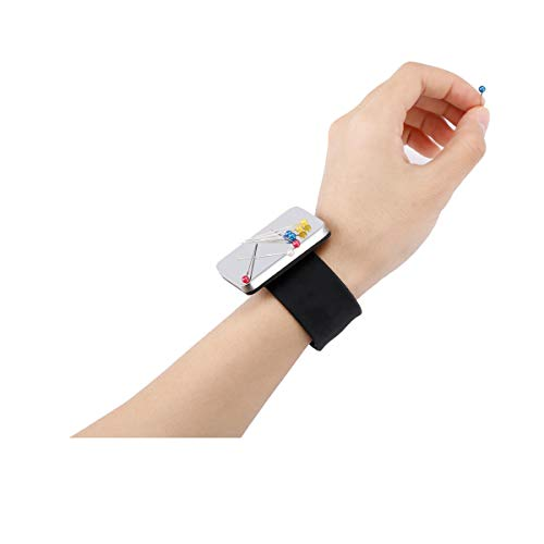 Fitbst Magnetic Wrist Sewing Pincushion,Magnetic Pin Cushion for Sewing,Magnetic Pin Holder for Sewing,Magnetic Silicone Wrist Strap Bracelet