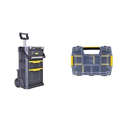 STANLEY STST1-79231 - Taller móvil para herramientas 2 en 1, 56 x 38,2 x 76,4 cm + STST1-71197 - Organizador doble