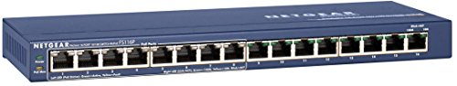 NETGEAR 16-Port Fast Ethernet 10/100 Unmanaged PoE Switch (FS116PNA) - with 8 x PoE @ 70W, Desktop, and ProSAFE Limited Lifetime Protection
