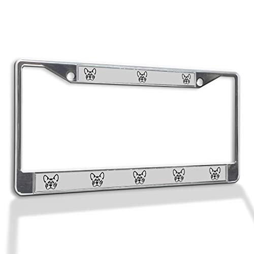 Fastasticdeals Metal Insert License Plate Frame French Bulldog Silhouette Weatherproof Car Accessories Chrome 2 Holes Solid Insert
