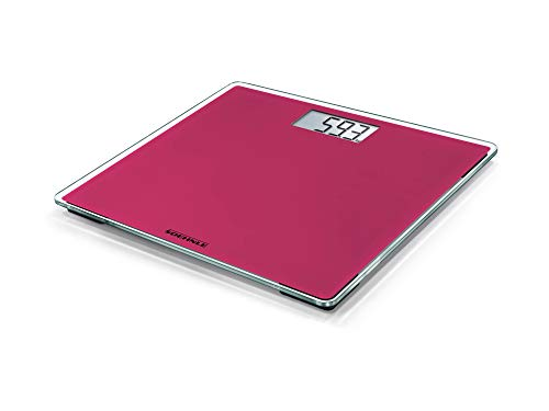 Soehnle Style Sense Compact 200 Think Pink, balance électronique avec large écran LCD, balance de précision supportant jusquà 180 kg solide et élégante, pèse personne durable et extra-plat, rose