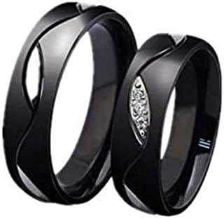 طقم خواتم للازواج أسود من ستيل التيتانيوم اللامع - هدية الزفاف من الالماس للنساء us8، us11 cr18-6