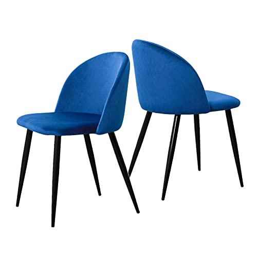 OFCASA Set di 2 sedie da pranzo in velluto verde con schienale imbottito e gambe in metallo nero, sedia per soggiorno, ufficio, sala ristorante