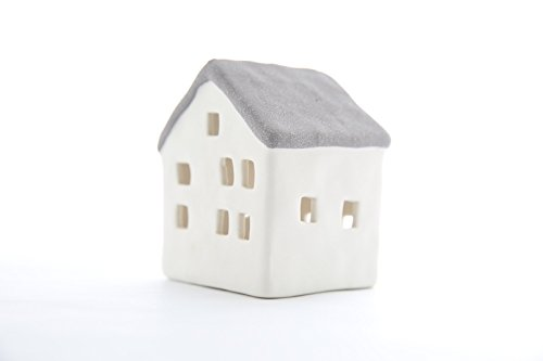 White Porcelain Grey Small Cottage with LED Lithophane Lighting house (Simulate Tealight Holder) - BNIB -EXCELLENT GIFT