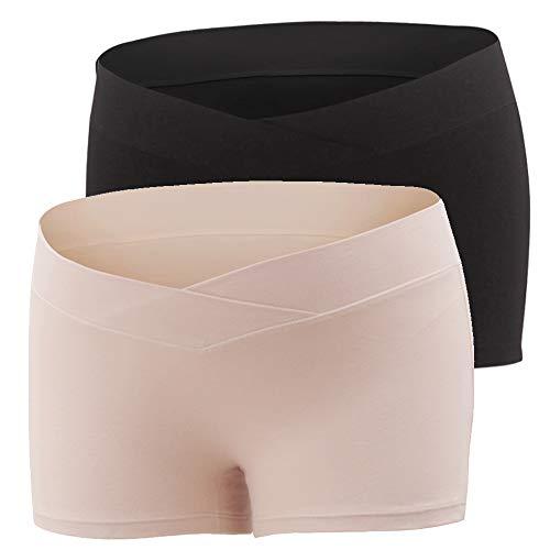 Vellette Mujer Braguitas para Premamá Ropa Interior de Maternidad sin Costura Bóxer de Embarazo, Modal Algodón de Ropa Interior Premamá 2PCS