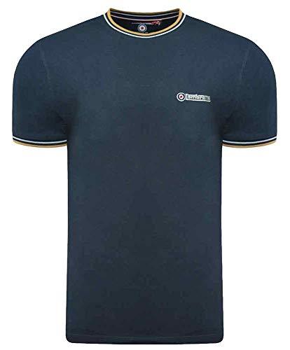 Lambretta Baseball-Poloshirt für Herren, Vintage-Stil, Baumwolle, MOD UK S-4XL Gr. 56, Navy / White / Biscuit