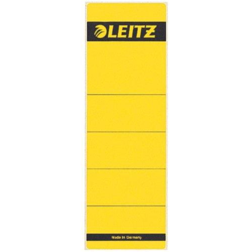 Leitz Rückenschild selbstklebend für Standard- und Hartpappe-Ordner, 10 Stück, 80 mm Rückenbreite, Kurzes und breites Format, 62 x 192 mm, Papier, gelb, 16420015