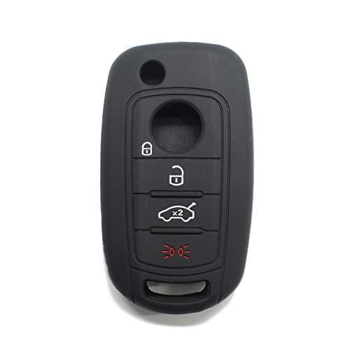 [Portachiave] Guscio Cover Chiave in Silicone per Telecomando Auto Fiat 4 tasti (vedere compatibilità nelle foto) Fiat 500 500X Tipo (NERO)