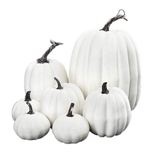Oulian 7 Stück Künstliche Kürbisse aus Schaumstoff, Halloween Mini Kürbisse, Halloween Thanksgiving Herbst Ernte Kürbis Dekorationen Requisiten, Kreative Haupttischdekoration - Weiß