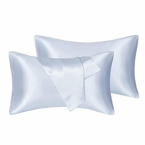 Fatapaese Juego de fundas de almohada de satén para cabello y piel, 2 unidades, tamaño estándar (50 x 75 cm), color azul cielo