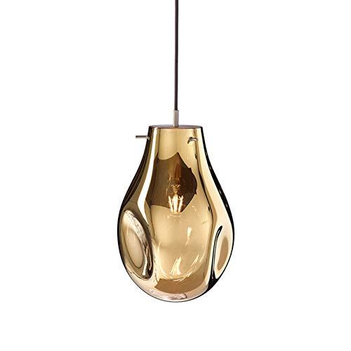 HJXDtech Lámpara colgante posmoderna con pantalla de vidrio irregular hecha a mano, Loft Bar E27 Luz colgante de techo colorida plateada (Ámbar)