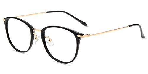 Firmoo Anti Blaulicht PC Brille ohne Sehstärke, Vintage Blaulichtfilter Brille Entspiegelt Computer Brille gegen Kopfschmerzen, Ovale Blaufilter Gläser Brille Schwarz