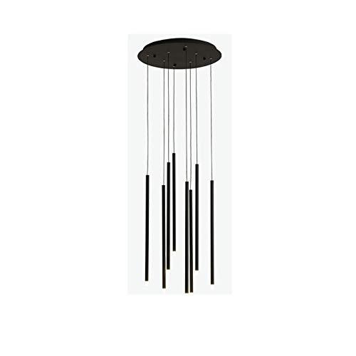 TVDCC Moderna minimalista de la escalera de la lámpara de techo Villa nórdico iluminación de la lámpara de Oro Negro Led lámpara de Cafe Restaurante Para (Color : B)
