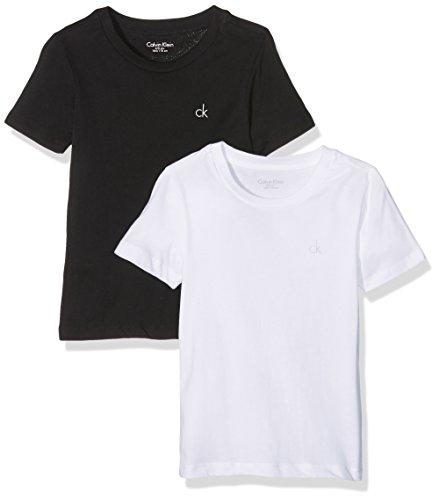 Calvin Klein Jungen T-Shirt 2PK SS Tee, Schwarz (Black/White 908), 158 (Herstellergröße: 12-14)