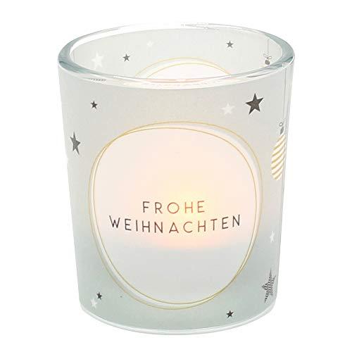 Dekohelden24 Windlichtglas mit Motiv auf Einer transparenten Banderole, inkl. 1 Teelicht, H/Ø: 6,5 x 6 cm, Motiv: Frohe Weihnachten.