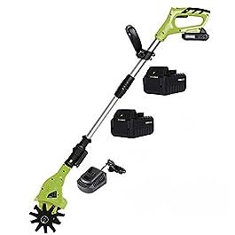 BJYX Motobineuse sans Fil, Rotavateur de Jardin avec Batterie 2000×2 mAh et Chargeur,Motoculteur Électrique à Main Hoe…