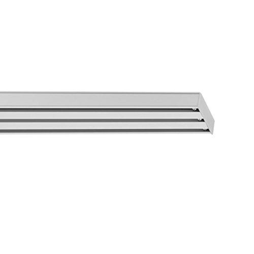 Lichtblick Vorhangschiene für Flächenvorhang, 160 x 4,9 x 1,6 cm, 3-läufig, Gardinenschiene zur Deckenmontage, für Schiebevorhänge/-gardinen, Vorhanghalter, Weiß