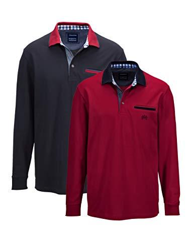 BABISTA Herren Polo-Shirt Set – Langarm-Shirt aus Baumwolle, klassisches Herren-Shirt im 2er Pack, Polo-Hemden in Bordeaux und Marineblau, Gr. 48, Bordeaux, Gr. 62