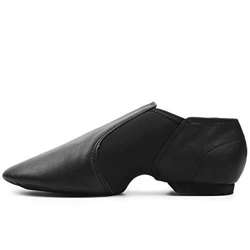 DANCEYOU Zapatos de Jazz de Cuero Negro con Poco Tacón Zapatillas de Danza con Suela Partida y Cinturón de Empalme Elasticidad para Niños y Adultos EU31