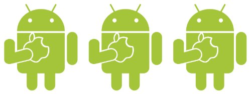 Android Robot Eating an Apple Set of Three 2.75 Inch Tall Vinyl Decals Lime Green