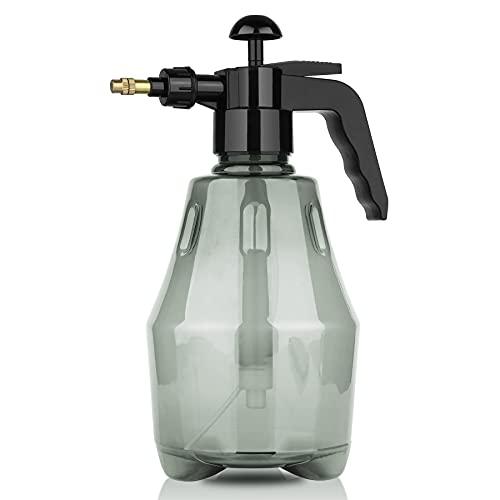 T4U スプレー ボトル 加圧式 霧吹き 植物 1500ML プラスチック 極細ミスト ノズル調整可能 園芸 ガーデニング 掃除 グレー 透明