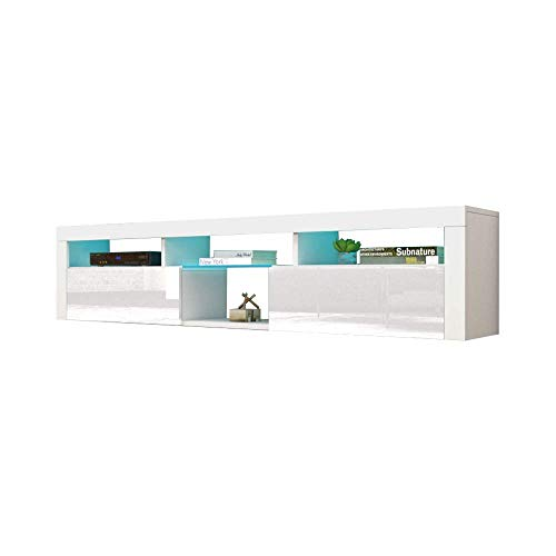 """Meble Furniture & Rugs Bari 200 Wall Mounted Floating 79"""" TV Stand with 16 Color LEDs White"""