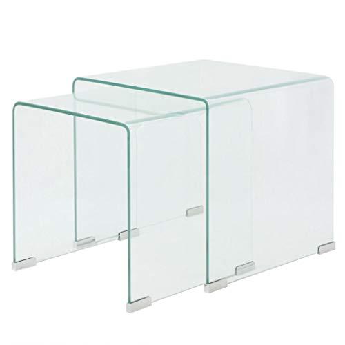 vidaXL 2-TLG. Satztisch-Set Beistelltisch Kaffeetisch Couchtisch gehärtetes Glas