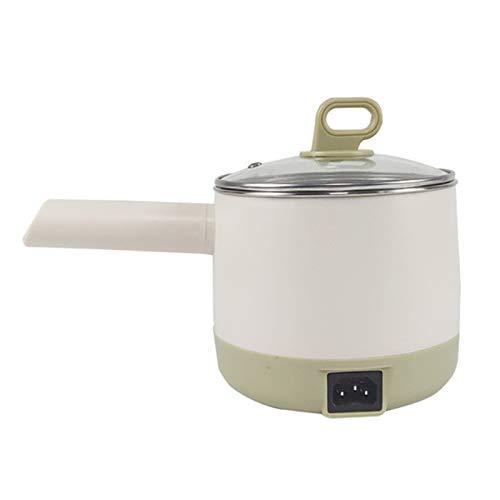 CHQY Pote Caliente eléctrico 1l, Acero Inoxidable Mini Wok eléctrico, Bandeja de salteado Anti-escalado, Cocinero/estofado/cocido al Vapor/Frito, A Debe Tener cocin White