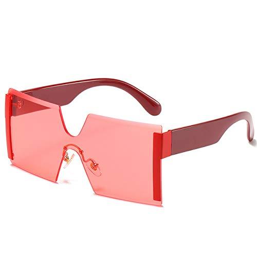 HANLIN Gafas de sol de gran tamaño sin montura de moda para mujer, diseñador de marca de lujo, gafas de sol siameses de metal con espejo vintage, rojo