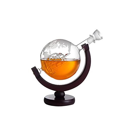 Benxin Globe Decantador con bola grabada para licor whisky bourbon con 2 vasos