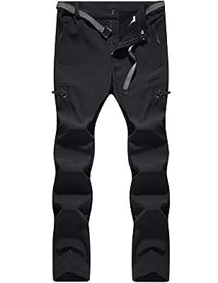 BenBoy Women's Outdoor Waterproof Windproof Fleece Cargo Snow Ski Hiking Pants,CFK2313W-Black-XS