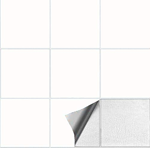 Abnaok 6 * 6inches Fliesenaufkleber für Küche und Bad, 50 Klebefliesen (Weiß, 6 * 6inches)