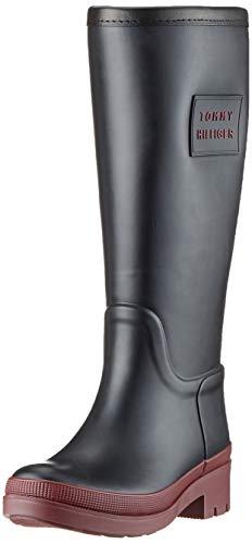 Tommy Hilfiger Damen Warmlined Long Rainboot Hohe Stiefel, Schwarz (Black 990), 38 EU