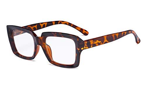 Eyekepper Stylish Brille Damen - Übergroße quadratische Brillen Schildkröte