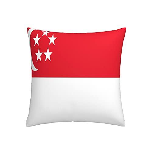 Kissenbezug mit Flagge von Singapur, quadratisch, dekorativer Kissenbezug für Sofa, Couch, Zuhause, Schlafzimmer, Indoor Outdoor, niedlicher Kissenbezug 45,7 x 45,7 cm