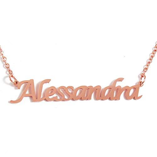 Kigu Alessandra Nome Collana Personalizzata - 18ct Placcato Oro Rosa