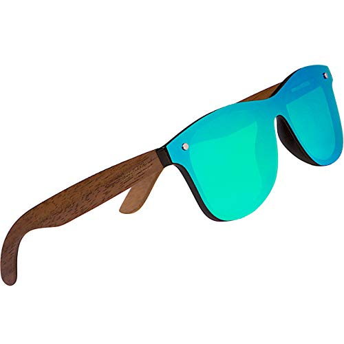 WOODIES Polarized Walnut Wood Flat Mirror Sunglasses for Men and Women   Green Polarized Lenses and Real Wooden Frame   100% UVA/UVB Ray Protection