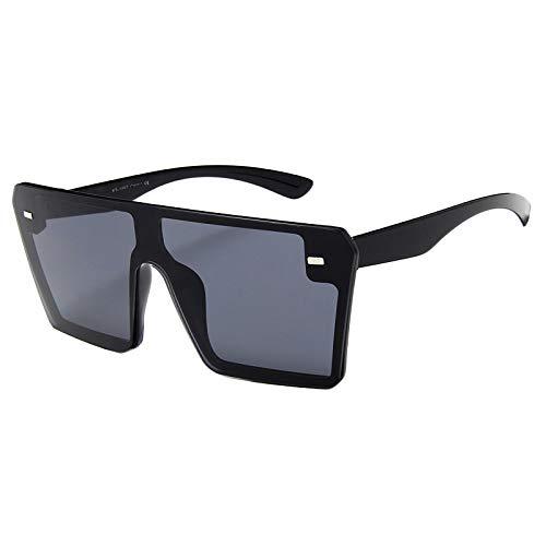 Cuasting Gafas de sol cuadradas de gran tamaño para mujer de moda plana con parte superior gradiente C1 brillante negro completo gris