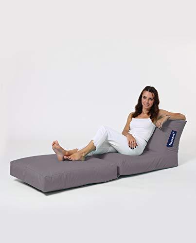 Sugarpufy Sitzsack mit Lehne - Bequemer Bean Bag mit Rückenlehne als Sitzkissen & Sessel mit Füllung - Reißverschluss zum Befüllen - Wasserfester Bezug - Sitzsack Indoor & Outdoor - Grau