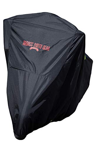 """Badass Moto Gear Ultimate Waterproof Motorcycle Cover. Heavy Duty, Night Reflective, Windshield Liner, Heat Shield, Vents, Lock Pocket, Taped Seams (108"""" Full Dressers,Tourers) Extra Large"""