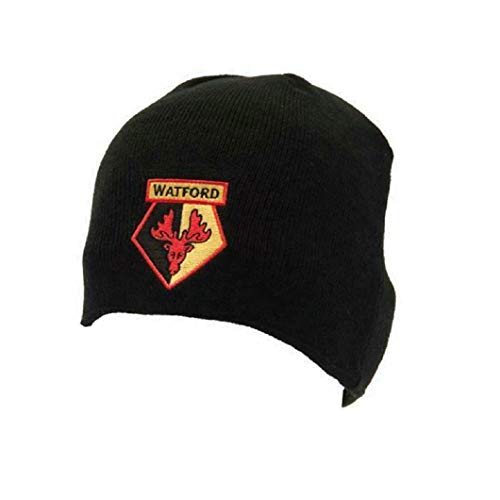Watford FC - Bonnet tricoté - Adulte (Taille Unique) (Noir)