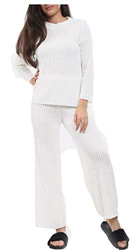 Islander Fashions Survtement en Maille Fine pour Femme Pantalon Haut col Rond pour Femme 2pcs Co Ord Loungewear White Small/Medium