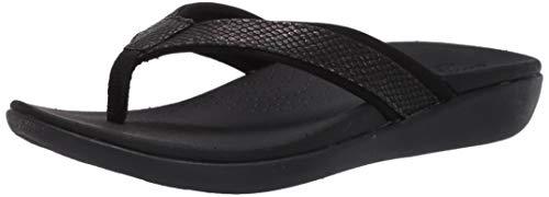 Clarks Women's Brio Sol Flip-Flop, Black Snake Synthetic, 100 M US