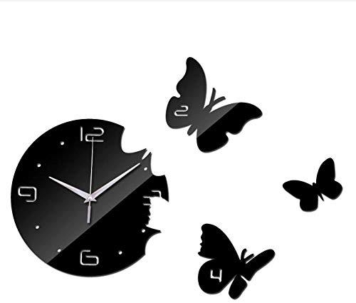 Doe-het-zelf wandklok nieuw aanbieding grote vlinder wand acryl moderne spiegel 3D tafeldecoratie klok