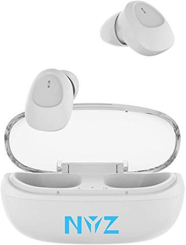 【Bluetooth5.0 イヤホン】 NYZ 完全ワイヤレスイヤホンHi-Fi 高音質 コードレス スポーツイヤホン ハンズフリー通話 自動ペアリング 音量調節 マイク付き ポータブル充電ケース iPhone Android Windows & PSE認証済 (スペースシリーズ)