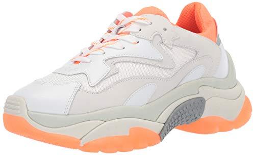 ASH Women's AS-Addict Sneaker, White/Fluo Orange/Silver, 40 M EU (10 US)