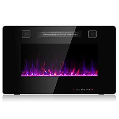 GOFLAME 30 Inch Electric Fireplace Recessed and Wall Mounted, Fireplace Heater in-Wall Built with Remote Control, Timer, Touch Screen, Adjustable Color
